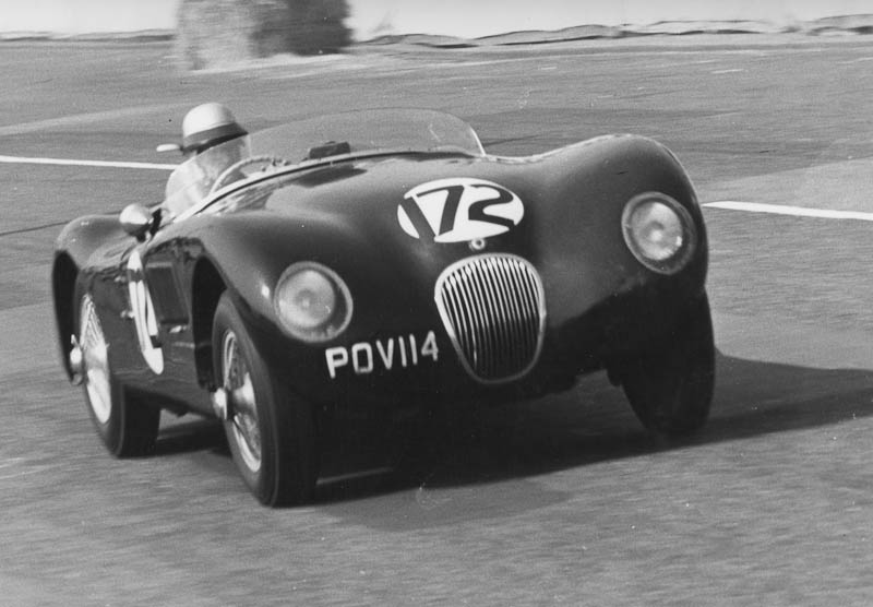 Guy Griffiths driving a C-Type Jaguar at the Brighton Speed Trials on the 14th September 1963 at the age of 47