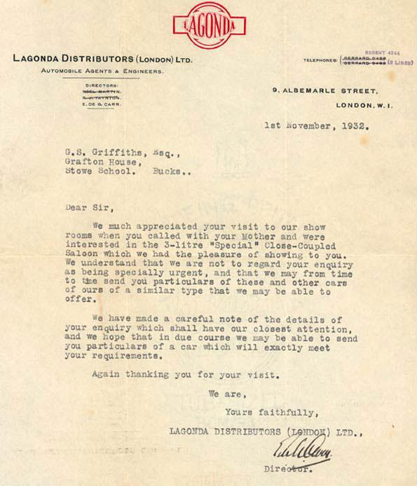 Letter from Lagonda