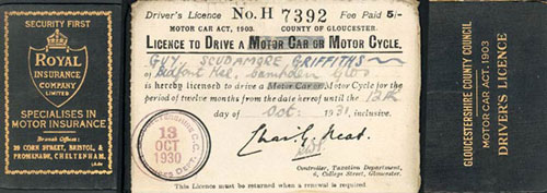 Guy griffiths first driving licence