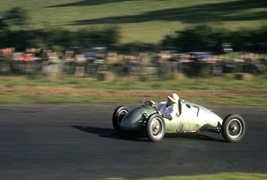 Stirling Moss in a Kieft 500 at Brands Hatch in October 1951.