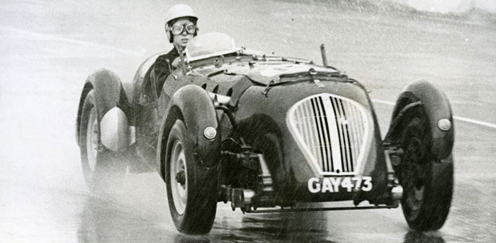 Guy Griffiths' daughter Penny driving a Healey Silverstone