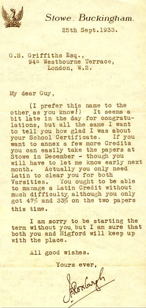 Letter from the Headmaster to Guy