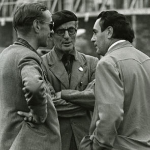 "Sammy Davis(centre) with John""Autocar""Cooper (left) and Spike Rhiando, photographed by Guy"